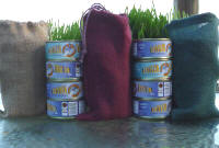 4 cans tuna come in colorful cloth bags
