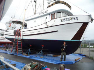 The fishing vessel ESTEVAN in dry dock.